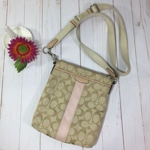 Coach Signature Khaki & Pink Swing Pack Bag